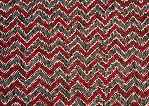 Blue and Red Zig Zag  Decor Rug