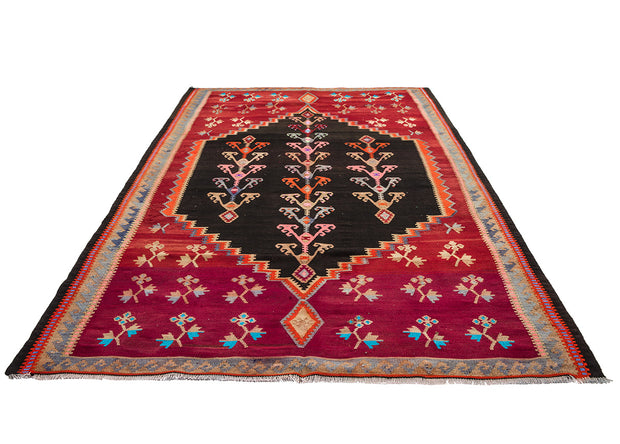 Large Black Medallion Red Runner Rug