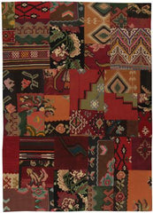 Kilim Patchwork Rug with machine stitch