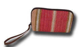 Make-Up Bag / Pinky Cosmetic With Brown Genuine Leather Bags
