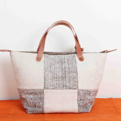 Vegetal Leather Zipper Closure Tote Bag