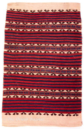 Antique Turkish Kilim Sack - Navy Blue & Red Stripes Sacks