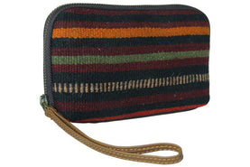 Make-Up Bag / Cosmetic Made Of Vintage Rug And Genuine Leather Bags