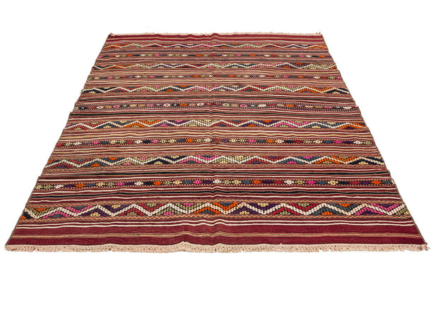 Stripes Embroidered Brown Traditional Rug