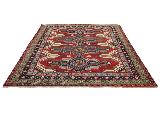 Outstanding Style Decorative Square Red Rug
