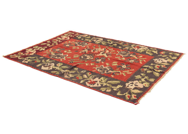 Red Decor Rug with Black Floral Border