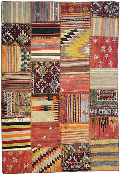 Patchwork Kilim Rug With Hand Stitch