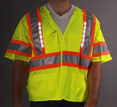 Class 3 LED Mesh 5 Point Breakaway Vest, Medium - 6XL