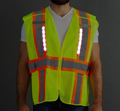 Class 2 LED Mesh Adjustable Breakaway Vest, Medium - 6XL