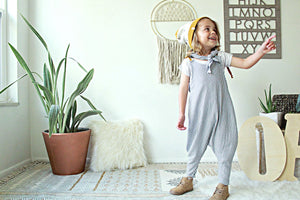 Crew Romper | Grey Stripe