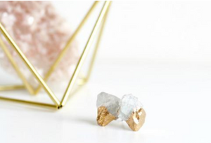 Raw Aquamarine Gold-dipped Studs