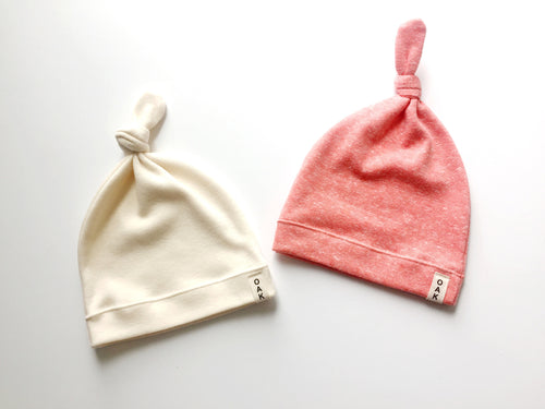 The Essential Knotted Beanie | Ivory or Coral