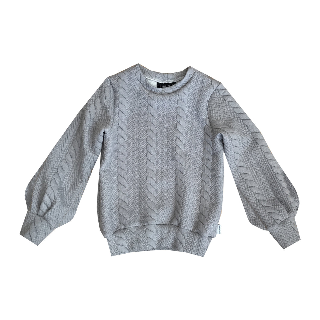 Cable Knit Ponte Bubble Sleeve Crew - theMINIclassy
