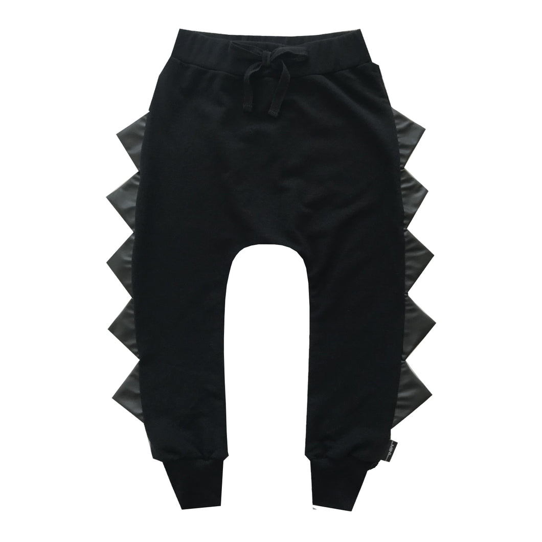 The Megalodon - Original Dino in All Black with Black Faux Leather Spikes - theMINIclassy