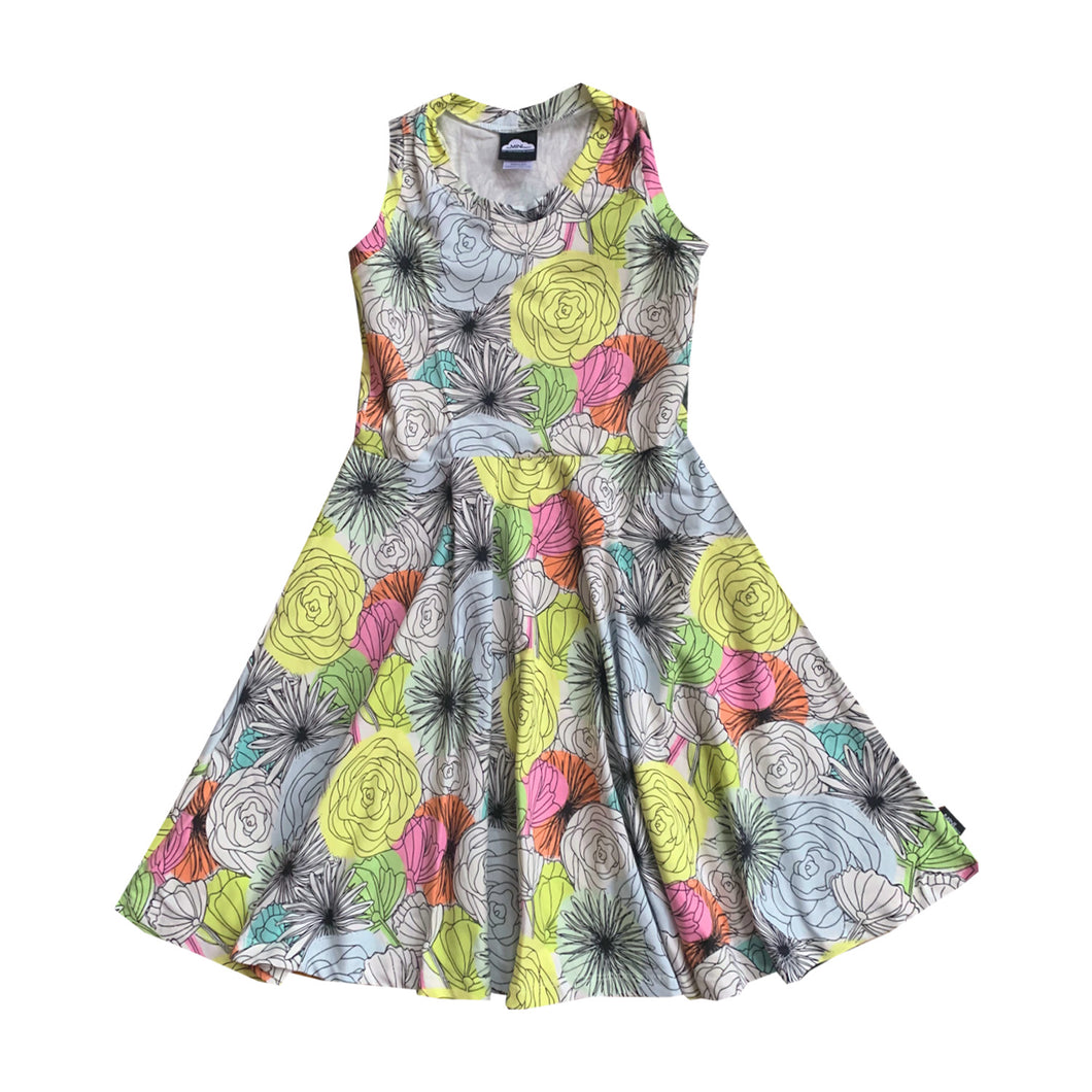 Neon Pop Floral Skater Dress - theMINIclassy