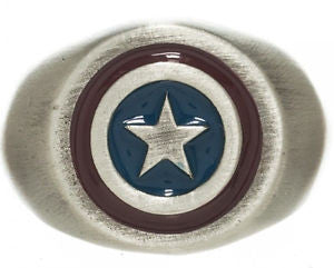 Marvel Captain America Brushed Nickel Ring