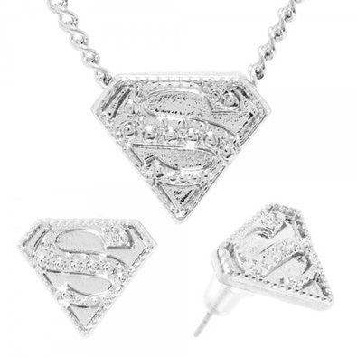 DC Comics Superman Caviar Necklace & Earrings Set