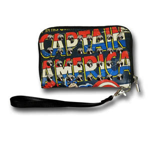 Captain America Studded Zip Wallet (Womens)