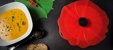 "Red Poppy Silicone Lid 11"" 28 cm- Charles Viancin Design"