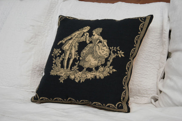 CLASSICAL DANCING COUPLE  CUSHION COVER - FLEMISH TAPESTRIES