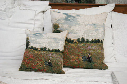 COQUELICOTS -  POPPY FIELD MONET CUSHION COVER - FLEMISH TAPESTRIES