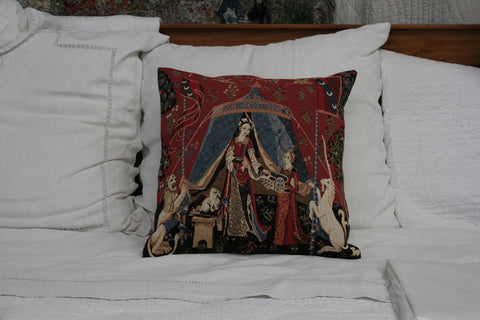 A MON SEUL DESIRE FLEMISH TAPESTRY CUSHION COVER