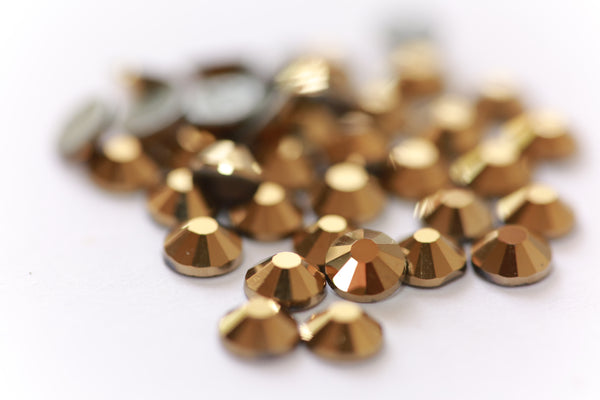 Glower® Metallic Gold Premium Hotfix Rhinestone Flat Back