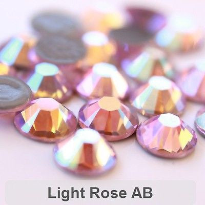 Glower® AB-Light Rose Premium Hotfix Rhinestone Flat Back