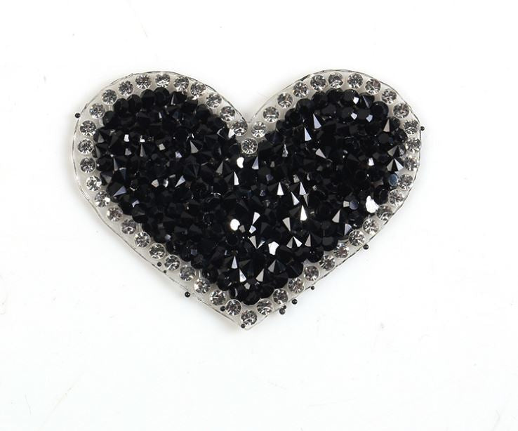 Hotfix Iron On Crystal Motif Pre-Made Black Heart Design