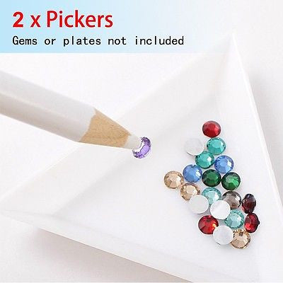 2 x WAX PICKER PENCIL for RHINESTONES , GEMS, CRYSTALS -Nail Art Tool Essential