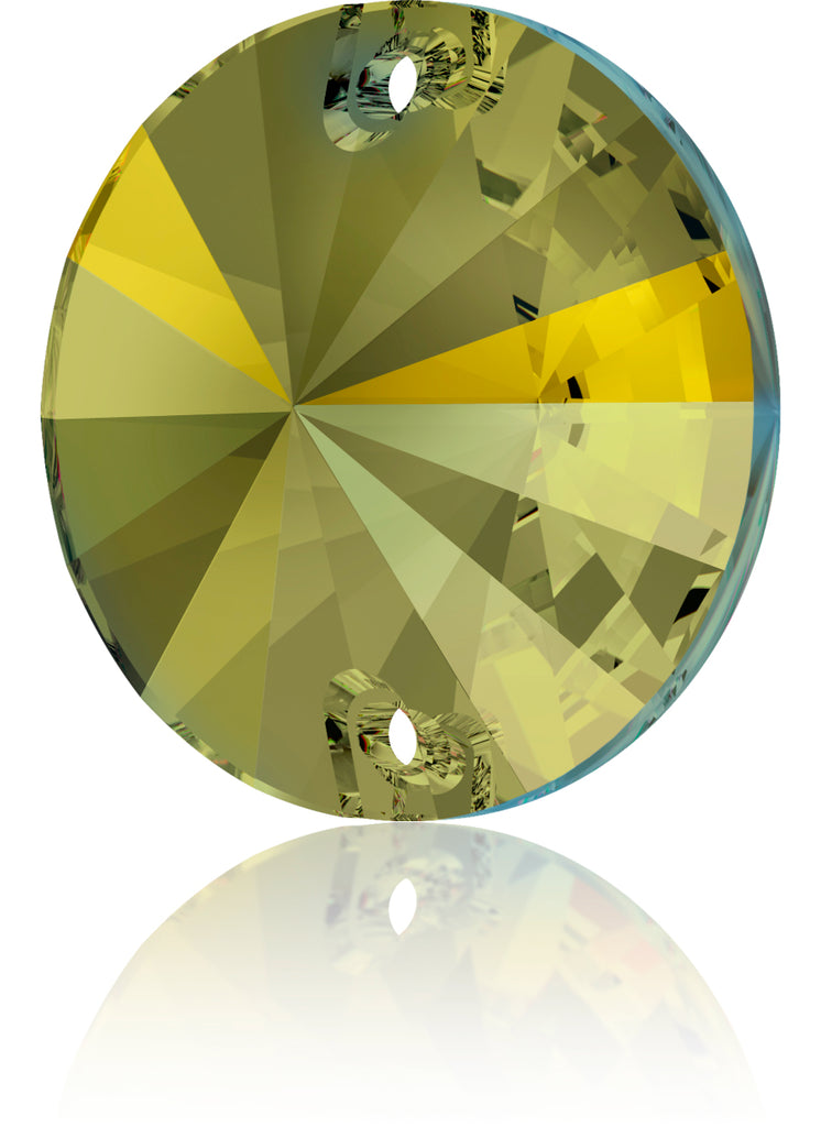 CRYSTAL IRIDESCENT GREEN RIVOLI SEW-ON SWAROVSKI® CRYSTAL 3200 FLAT BACK