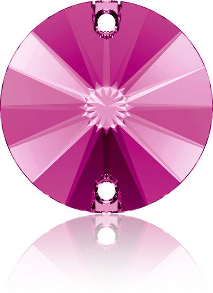 FUCHSIA RIVOLI SEW-ON SWAROVSKI® CRYSTAL 3200 FLAT BACK