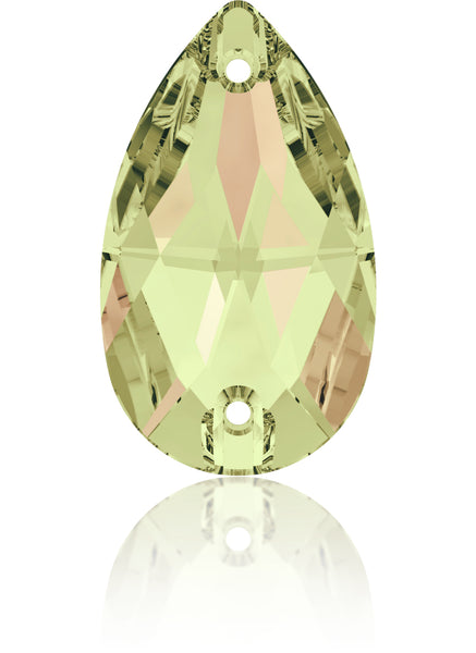 CRYSTAL LUMINOUS GREEN DROP SEW-ON SWAROVSKI® CRYSTAL 3230 FLAT BACK