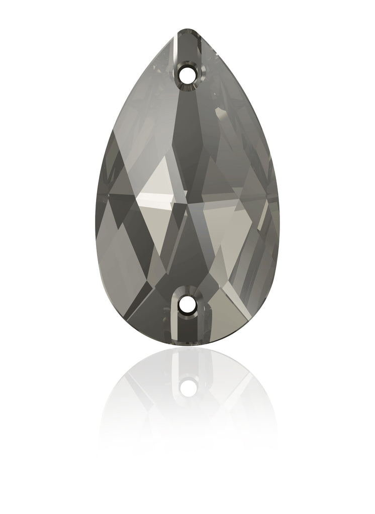 BLACK DIAMOND DROP SEW-ON SWAROVSKI® CRYSTAL 3230 FLAT BACK
