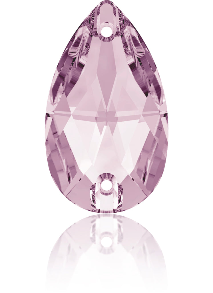 LT AMETHYST DROP SEW-ON SWAROVSKI® CRYSTAL 3230 FLAT BACK