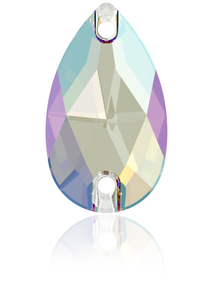 LT SAPPHIRE SHIMMER DROP SEW-ON SWAROVSKI® CRYSTAL 3230 FLAT BACK