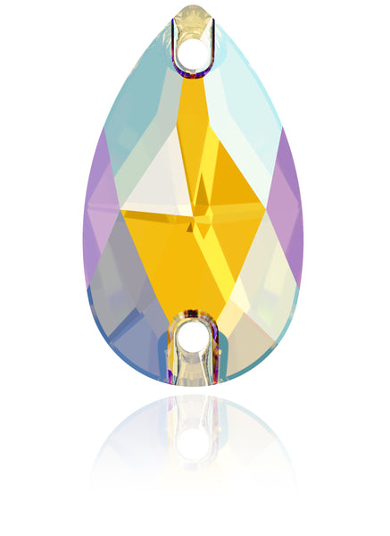 LT TOPAZ SHIMMER DROP SEW-ON SWAROVSKI® CRYSTAL 3230 FLAT BACK