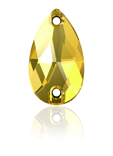 LT TOPAZ DROP SEW-ON SWAROVSKI® CRYSTAL 3230 FLAT BACK