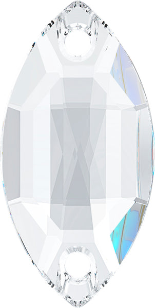 CRYSTAL CLEAR NAVETTE SEW-ON Stellux™ Austrian Crystal 320 FLAT BACK