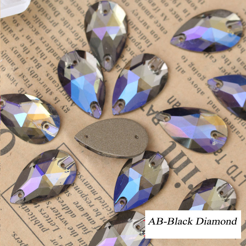 Assorted Aurora Borealis (AB) Tear-Drop Sew-on Flat Back Crystal
