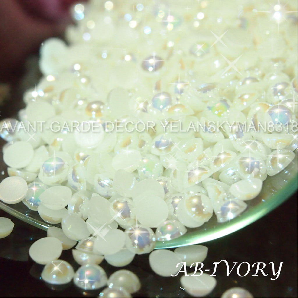 【AB】 FLAT BACKED HALF PEARLS - ASSORTED SIZE/COLOR NAIL ART CRAFT
