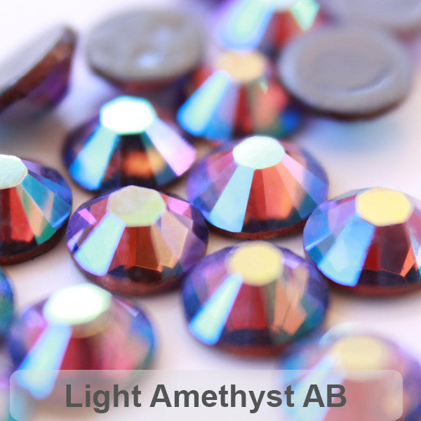 Glower® AB-Light Amethyst Premium Hotfix Rhinestone Flat Back