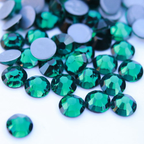 Glower® Blackish Green Premium Hotfix Rhinestone Flat Back