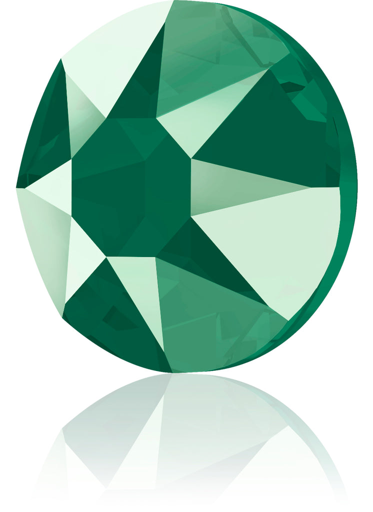 CRYSTAL ROYAL GREEN HOTFIX SWAROVSKI® CRYSTAL XIRIUS ROSE 2078 FLAT BACK