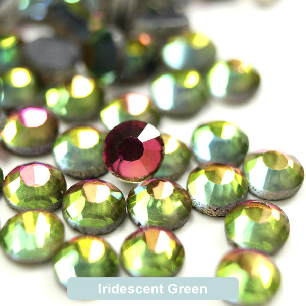Iridescent Green DMC Hotfix Rhinestone Flat Back