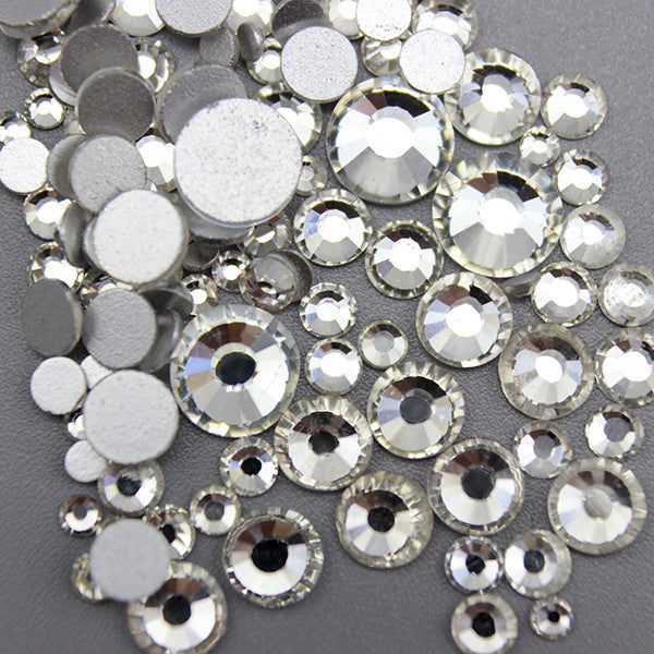 Assorted Sizes Clear Glass Rhinestone No-Hotfix AAA Grade