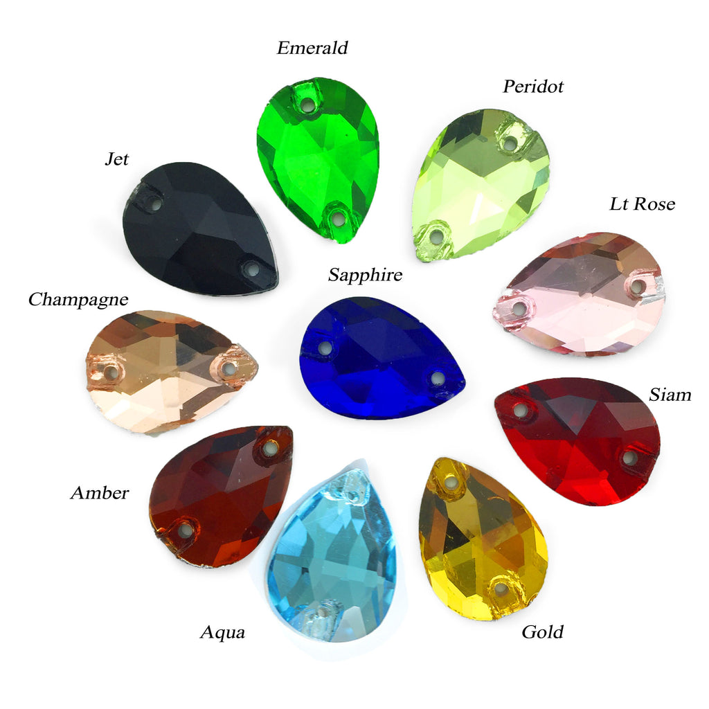 Assorted Standard Colours Tear-Drop Sew-on Flat Back Crystal Premium