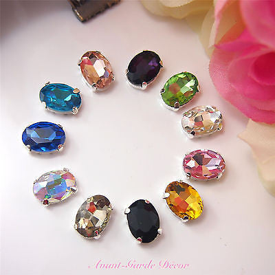 5pcs 10x14mm Oval Coloured Beveled Glass Sewing Rhinestones Crystal Decoration