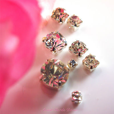 50pcs Clear Sewing Rhinestone Silver Plate Stitch Crystal
