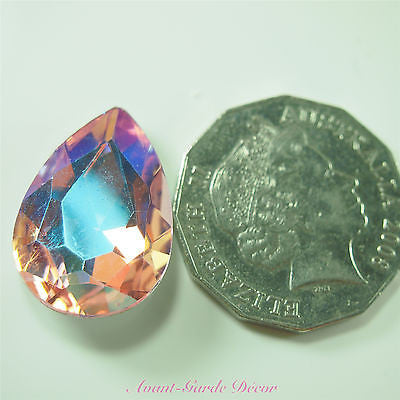 5pcs ABPink Diamante Teardrop Rivoli Beveled Glass Rhinestone Crystal